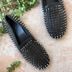 UNIF Black Leather Spiked Hellraisers Flat Loafers